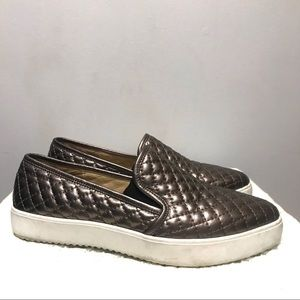 Vince Camuto slip on stacked sole metallic sneaker